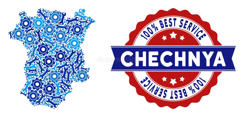 Mapa de Chechnya da colagem de ferramentas do serviço ilustração stock