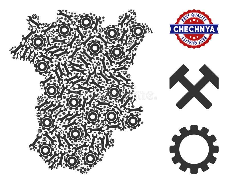 Mapa de Chechnya da colagem de ferramentas industriais ilustração royalty free