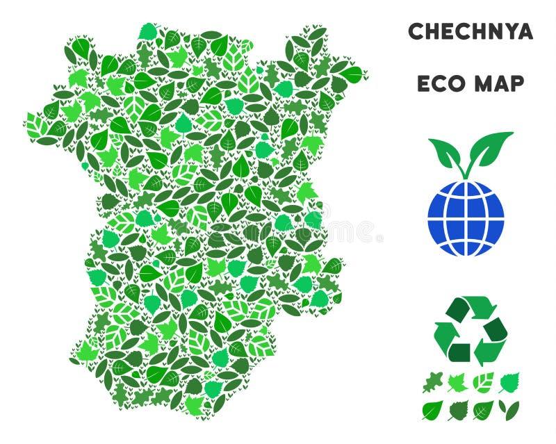 Mapa de Chechnya da composição do verde da ecologia do vetor ilustração do vetor