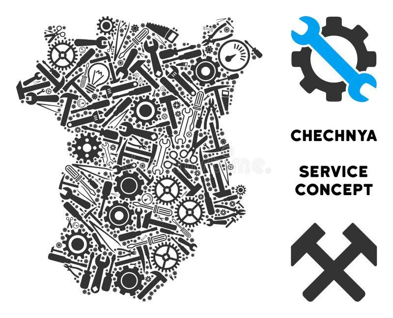 Mapa de Chechnya da composição de ferramentas do reparo ilustração do vetor