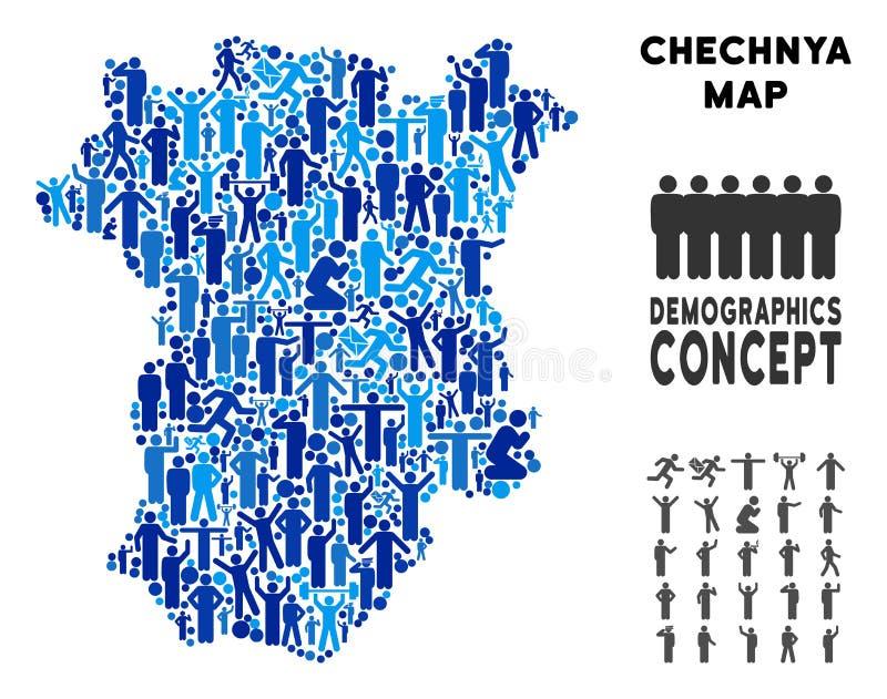 Mapa de Chechnya dos demográficos ilustração royalty free