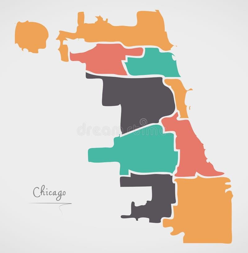 Mapa de Chicago con las ciudades y las formas redondas modernas stock de ilustración