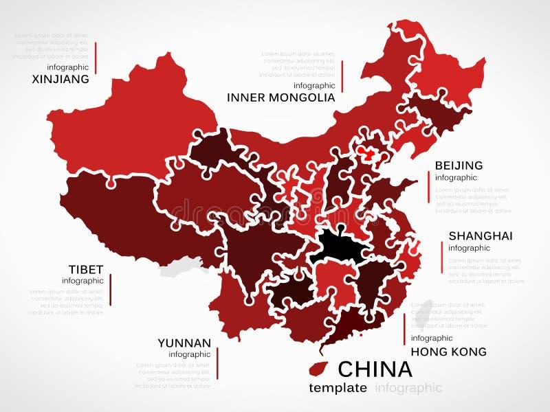 Mapa de China ilustração stock