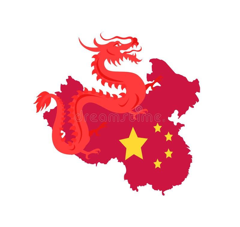 Mapa de China com beiras e bandeira, Dragon Creature ilustração stock