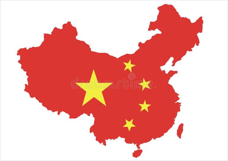 Mapa de China e bandeira nacional ilustração do vetor