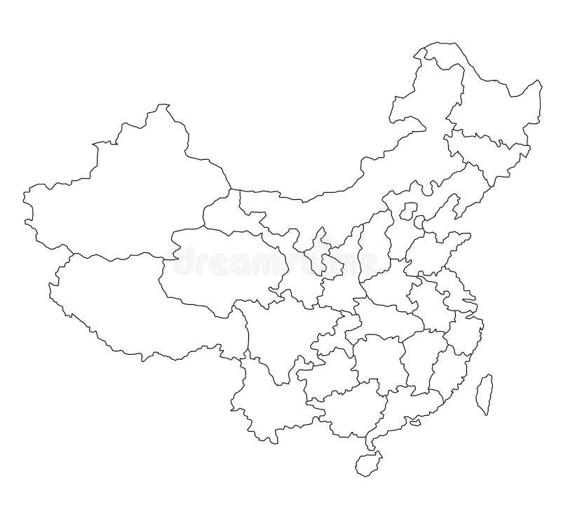 Mapa de China - espaço em branco ilustração do vetor