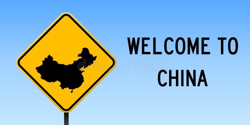 Mapa de China no sinal de estrada ilustração royalty free