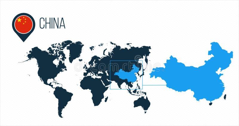 Mapa de China situado en un mapa del mundo con la bandera e indicador o perno del mapa Mapa de Infographic Ejemplo del vector ais stock de ilustración