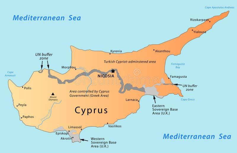 Mapa de Chipre ilustração stock