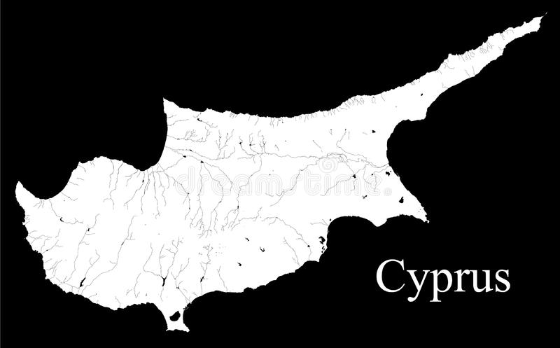 Mapa de Chipre Mapa blanco y negro del fondo, dibujado con el cartograp stock de ilustración