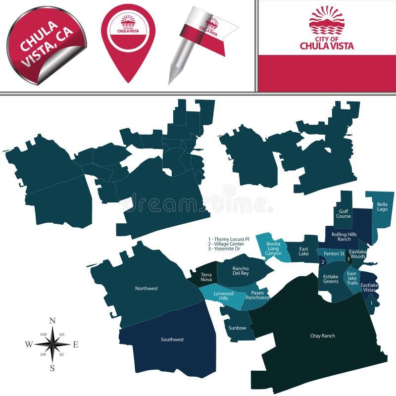 Mapa de Chula Vista, CA com distritos ilustração royalty free