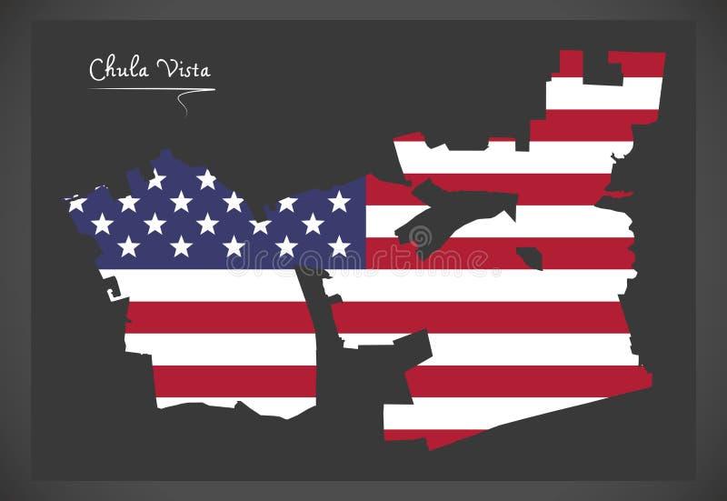 Mapa de Chula Vista Califórnia com illustrat americano da bandeira nacional ilustração do vetor