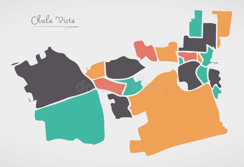 Mapa de Chula Vista Califórnia com vizinhanças e círculo moderno s ilustração stock