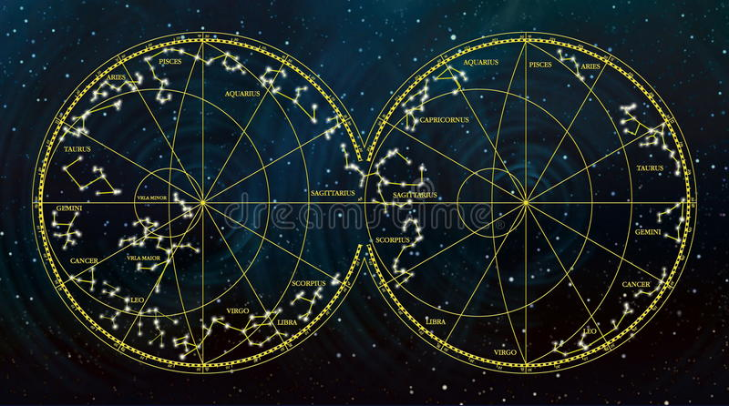 Mapa de cielo que representa las constelaciones y las muestras del zodiaco imágenes de archivo libres de regalías