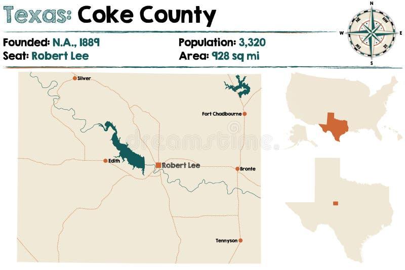 Mapa de Coke County em Texas ilustração royalty free