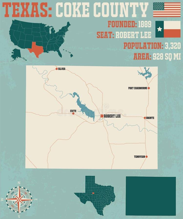 Mapa de Coke County em Texas ilustração do vetor