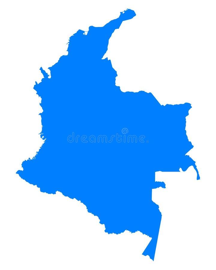 Mapa de Colômbia ilustração stock