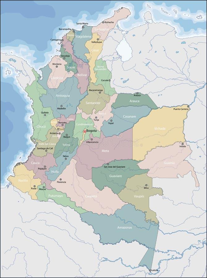 Mapa de Colômbia ilustração royalty free