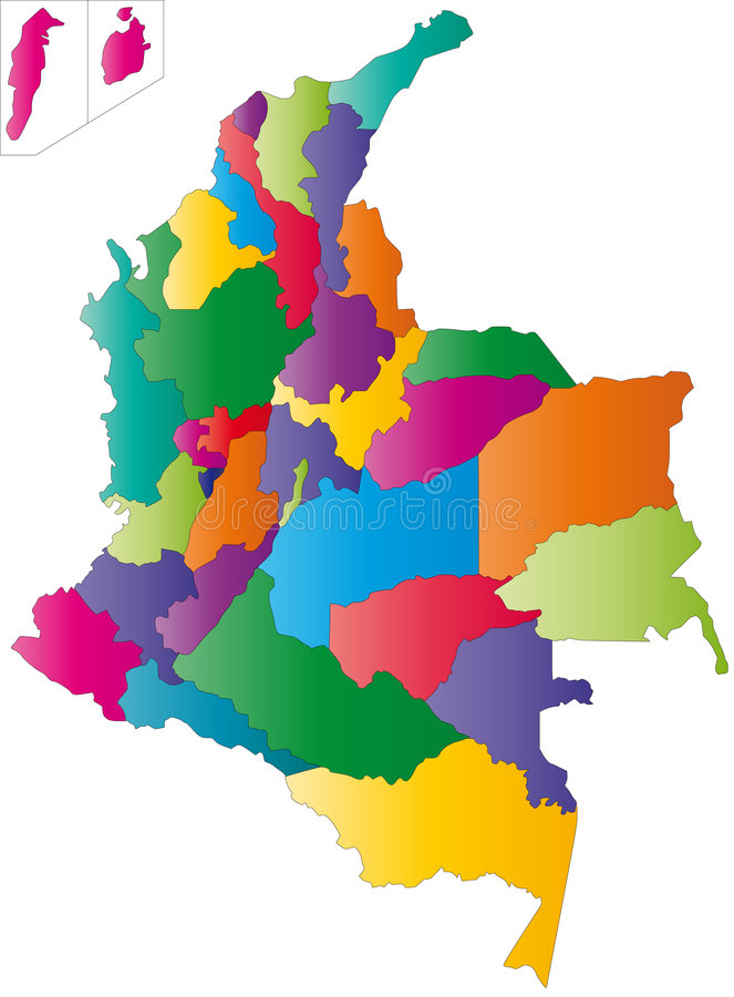 Mapa de Colômbia ilustração do vetor