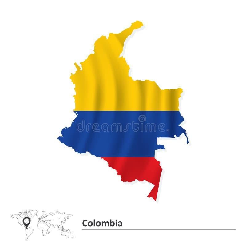 Mapa de Colômbia com bandeira ilustração do vetor
