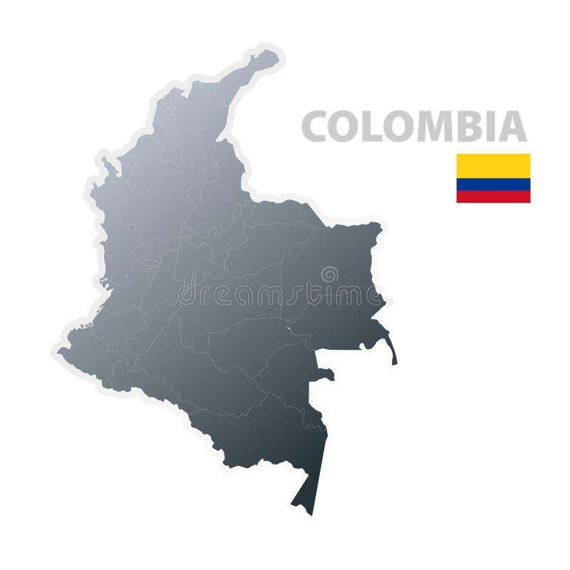 Mapa de Colômbia com bandeira oficial ilustração do vetor