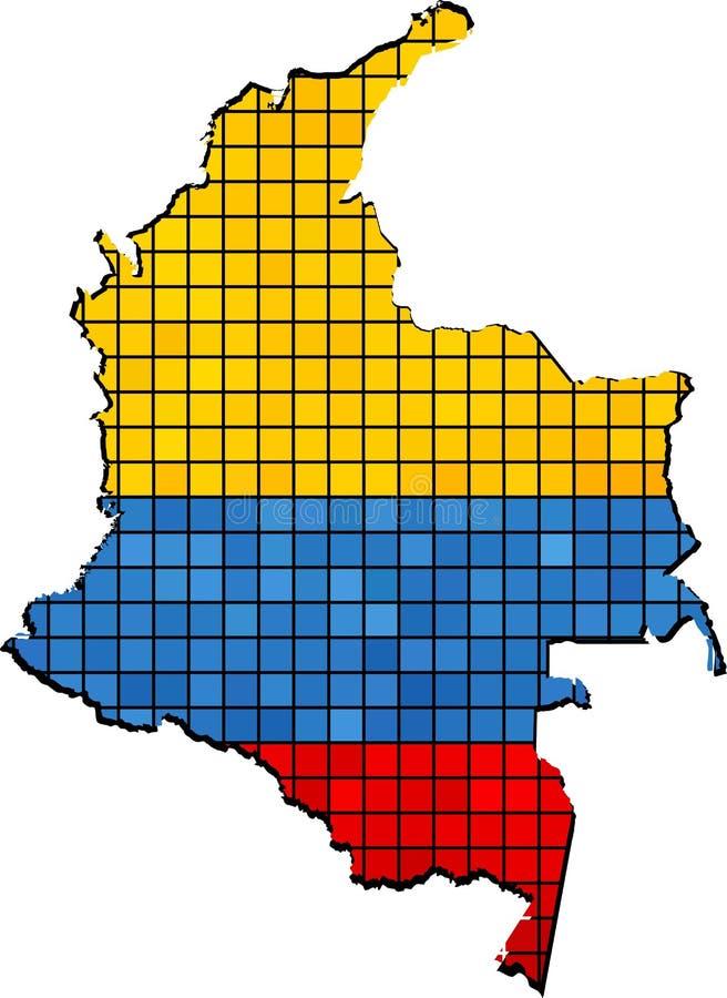 Mapa de Colômbia com bandeira para dentro ilustração do vetor