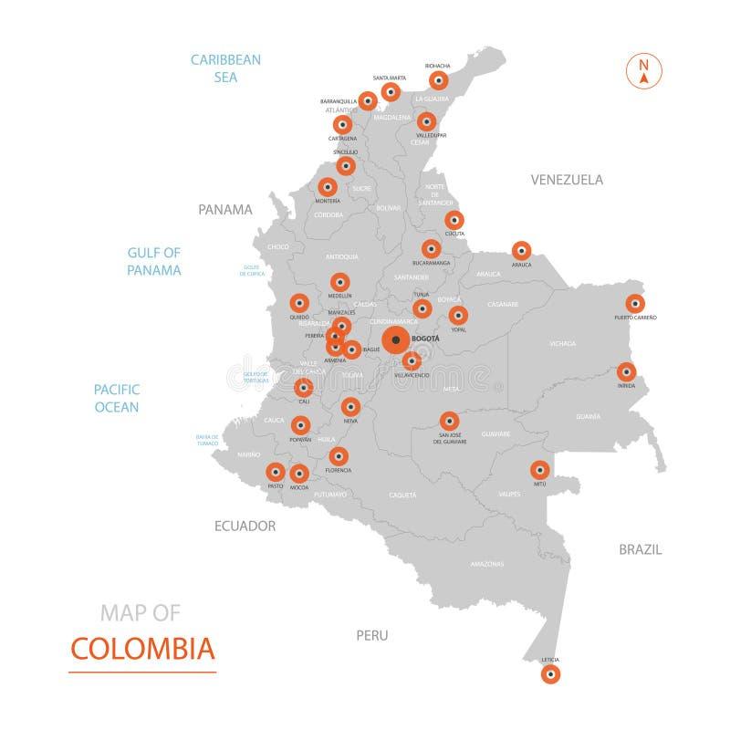 Mapa de Colômbia com divisões administrativas ilustração do vetor