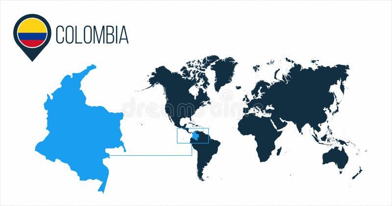 Mapa de Colômbia situado em um mapa do mundo com bandeira e ponteiro ou pino do mapa Mapa de Infographic Ilustração do vetor isol ilustração stock