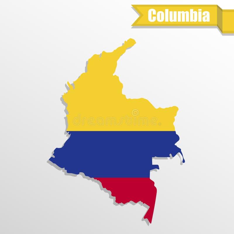 Mapa de Colômbia com interior e fita da bandeira ilustração royalty free
