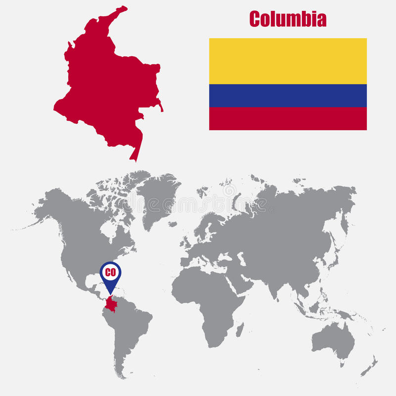 Mapa de Colômbia em um mapa do mundo com o ponteiro da bandeira e do mapa Ilustração do vetor ilustração royalty free