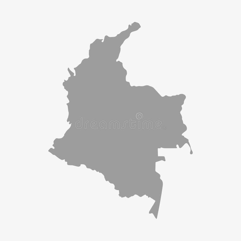 Mapa de Colômbia no cinza em um fundo branco ilustração stock