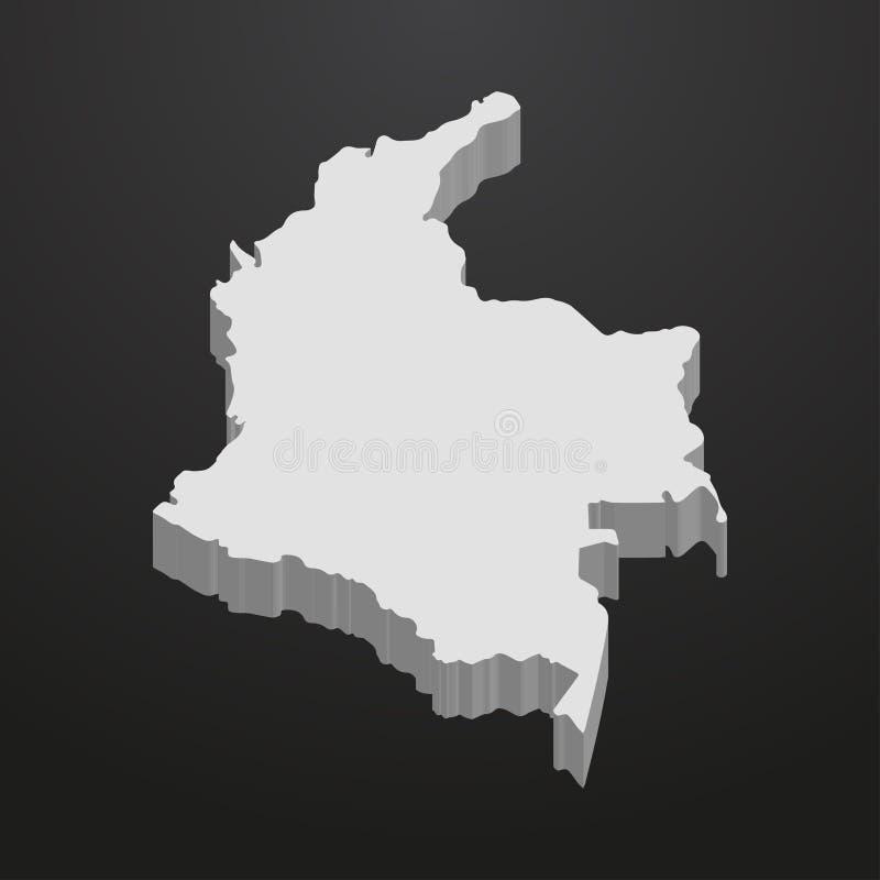 Mapa de Colômbia no cinza em um fundo preto 3d ilustração stock