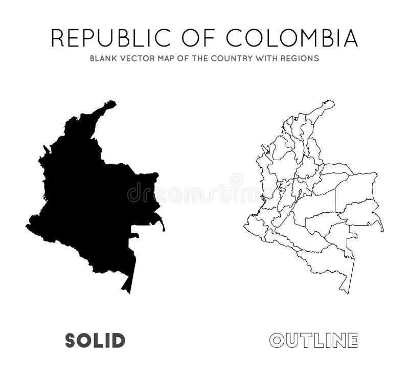 Mapa de Col?mbia ilustração stock