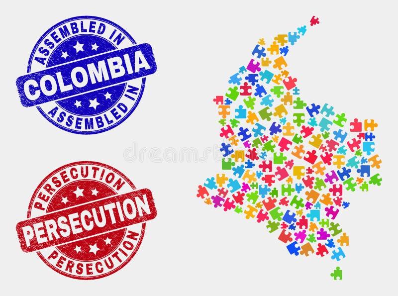 Mapa de Colombia del paquete y rasguñado sellos montada y de la persecución ilustración del vector