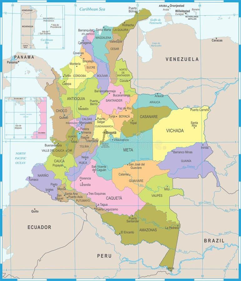 Mapa De Colombia Ejemplo Detallado Del Vector Stock de ilustracin