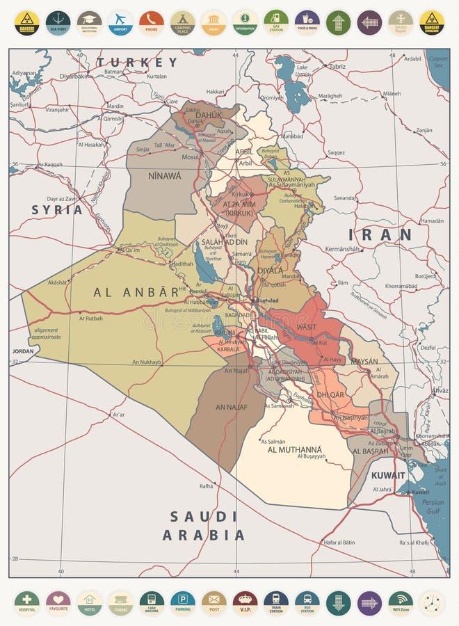 Mapa de color del vintage del mapa de Iraq e iconos planos redondos ilustración del vector