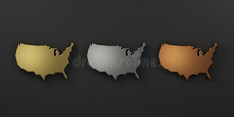 Mapa de colores del metal de los E.E.U.U. Estados Unidos 3d rinden la ilustraci?n stock de ilustración