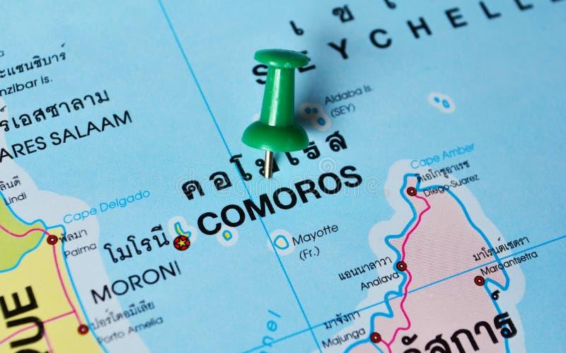 Mapa de Comores imagens de stock royalty free
