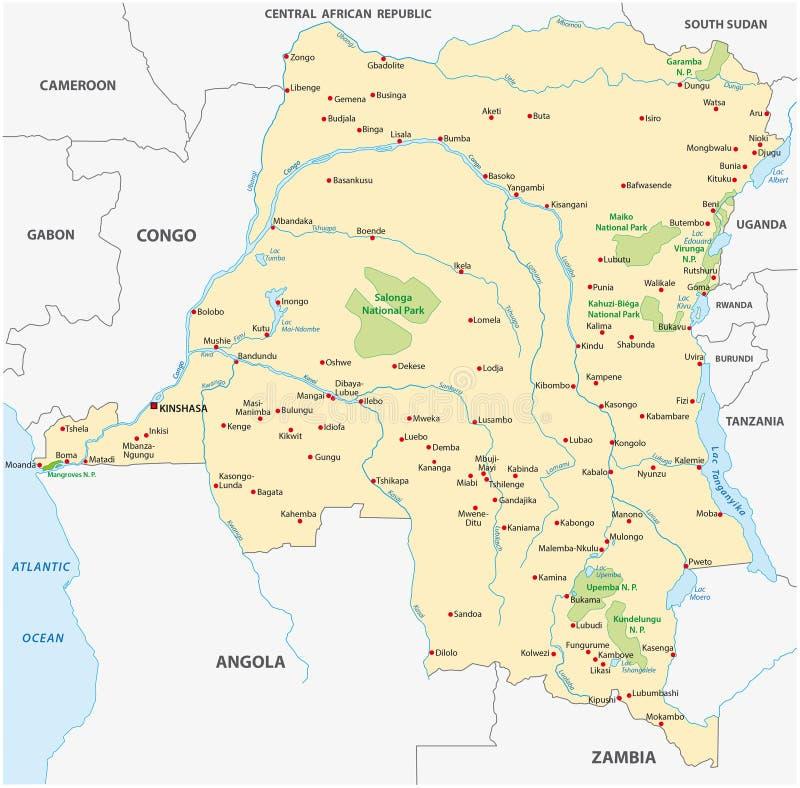 Mapa de Congo de la república Democratic ilustración del vector