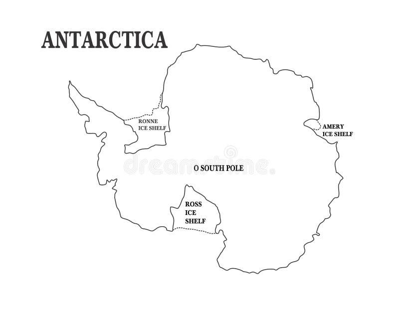 Mapa de Continente ant?rctico ilustração royalty free