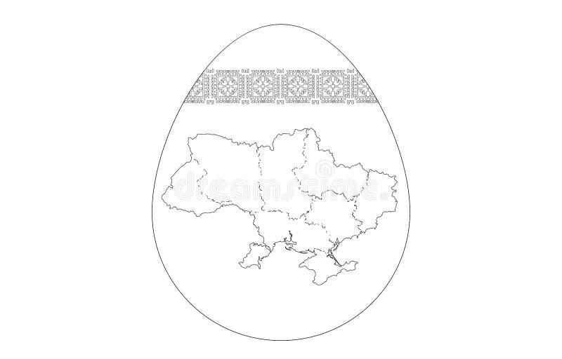 Mapa de contorno do ovo da páscoa de Ucrânia e do teste padrão bordado imagem de stock