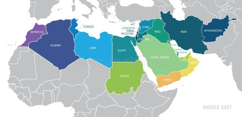 Mapa de cor do vetor de Médio Oriente ilustração royalty free