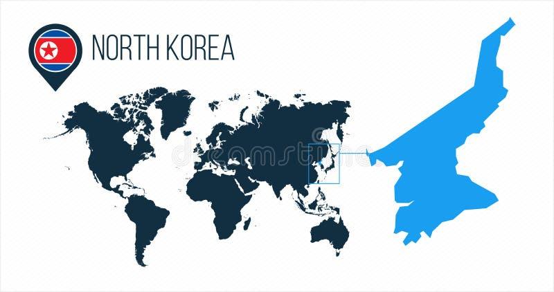 Mapa de Corea del Norte situado en un mapa del mundo con la bandera e indicador o perno del mapa Mapa de Infographic Ejemplo del  stock de ilustración