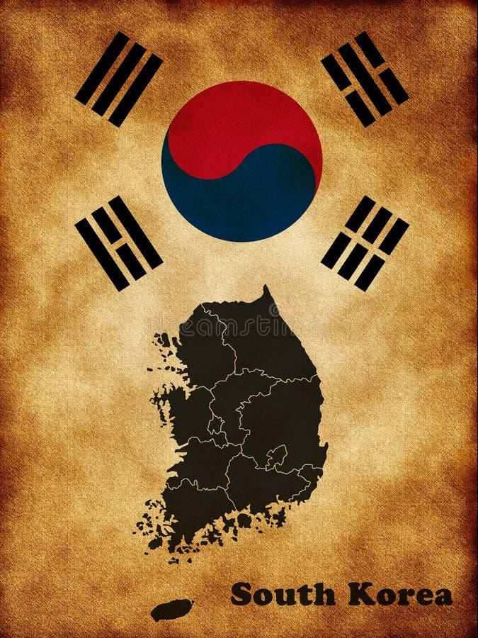 Mapa de Coreia do Sul ilustração royalty free