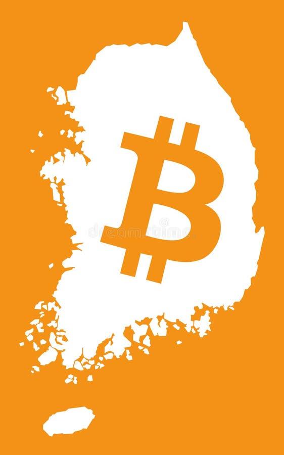 Mapa de Coreia do Sul com ilustração cripto do símbolo de moeda do bitcoin ilustração do vetor