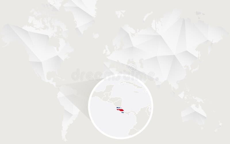 Mapa de Costa Rica con la bandera en contorno en el mapa del mundo poligonal blanco libre illustration
