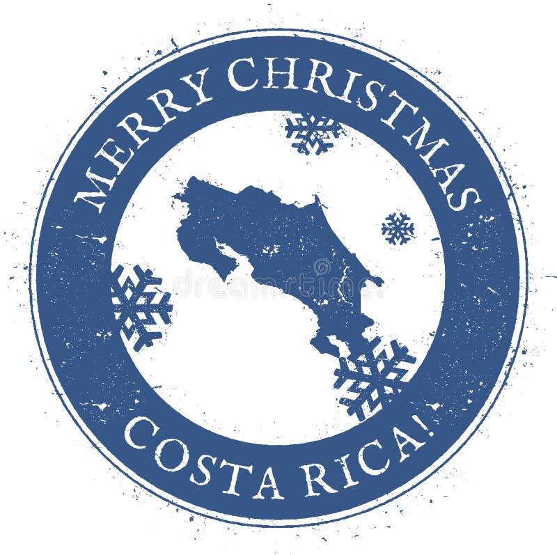 Mapa de Costa Rica Costela do Feliz Natal do vintage ilustração do vetor