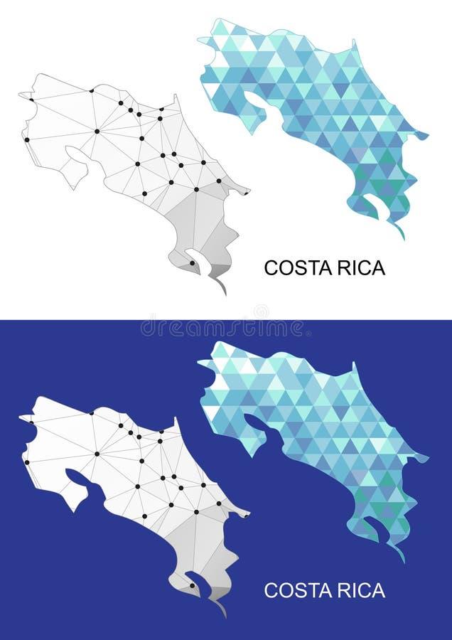 Mapa de Costa Rica en estilo poligonal geométrico Triángulo abstracto de las gemas stock de ilustración