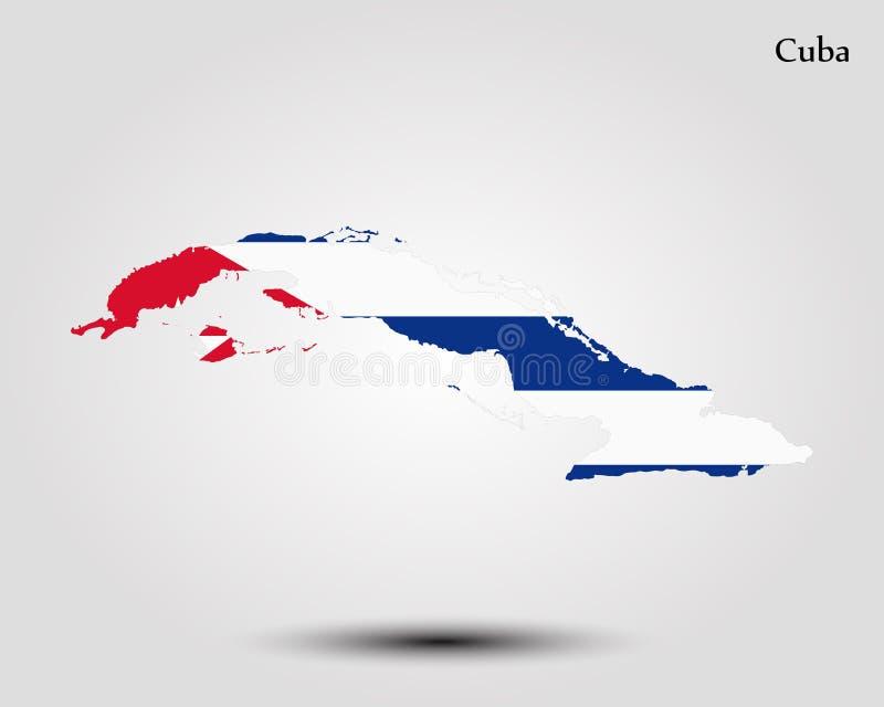 Mapa de Cuba ilustração royalty free