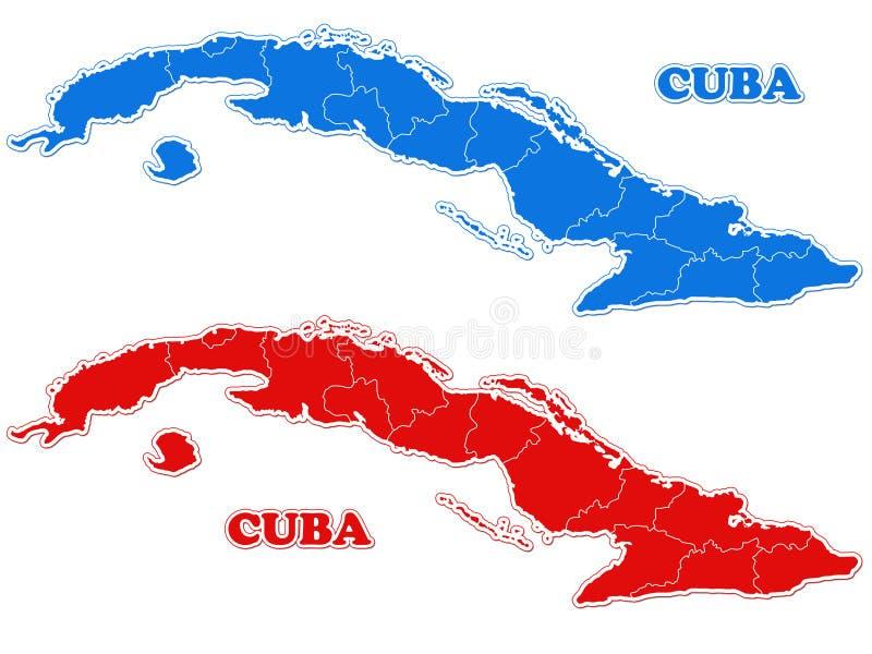 Mapa de Cuba ilustração stock